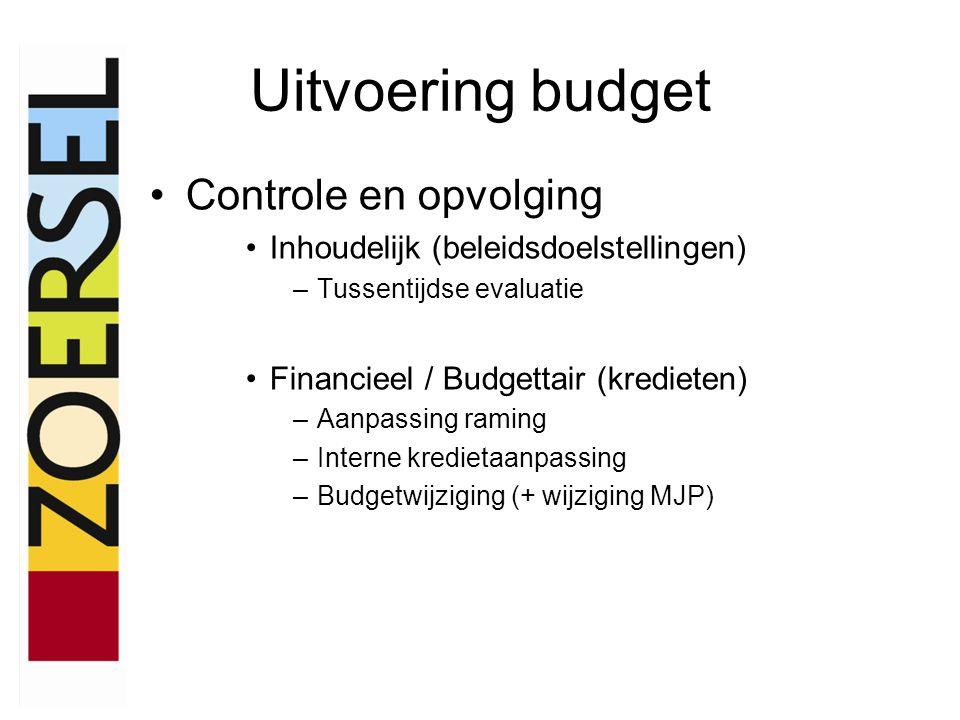 Uitvoering budget •Controle en opvolging •Inhoudelijk (beleidsdoelstellingen) –Tussentijdse evaluatie •Financieel / Budgettair (kredieten) –Aanpassing