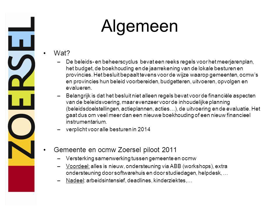 Algemeen •Wat? –De beleids- en beheerscyclus bevat een reeks regels voor het meerjarenplan, het budget, de boekhouding en de jaarrekening van de lokal