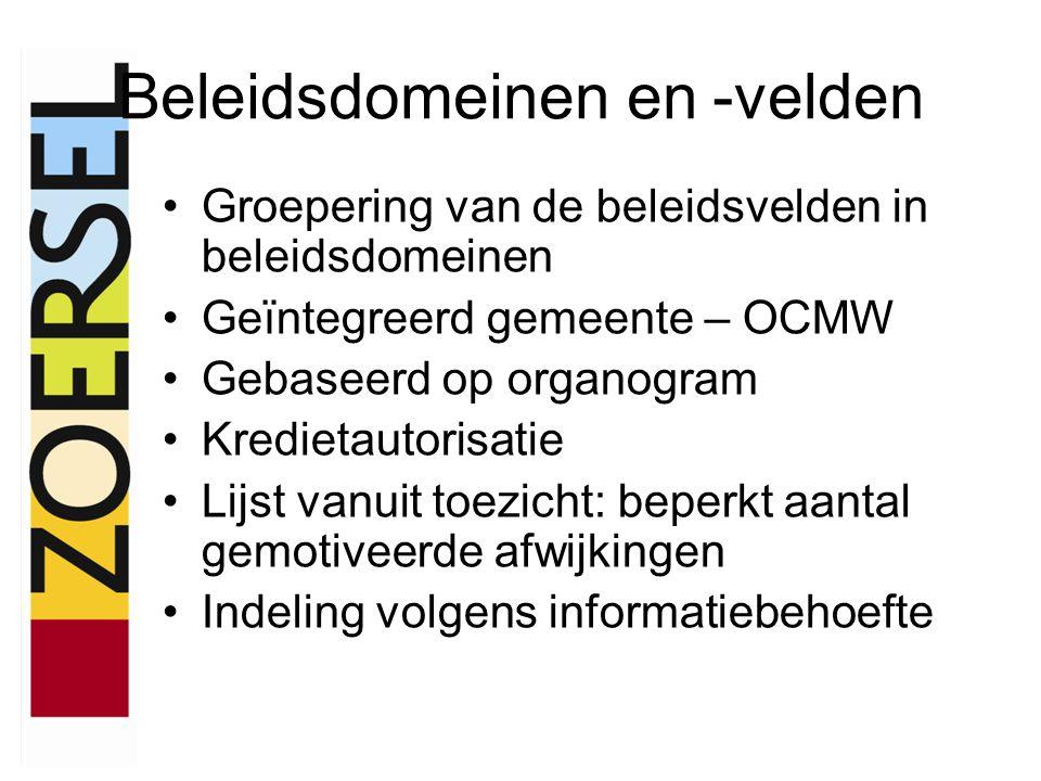 Beleidsdomeinen en -velden •Groepering van de beleidsvelden in beleidsdomeinen •Geïntegreerd gemeente – OCMW •Gebaseerd op organogram •Kredietautorisa