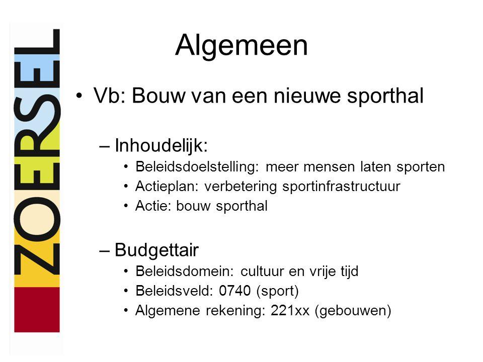 Algemeen •Vb: Bouw van een nieuwe sporthal –Inhoudelijk: •Beleidsdoelstelling: meer mensen laten sporten •Actieplan: verbetering sportinfrastructuur •