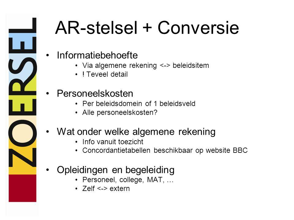 AR-stelsel + Conversie •Informatiebehoefte •Via algemene rekening beleidsitem •! Teveel detail •Personeelskosten •Per beleidsdomein of 1 beleidsveld •
