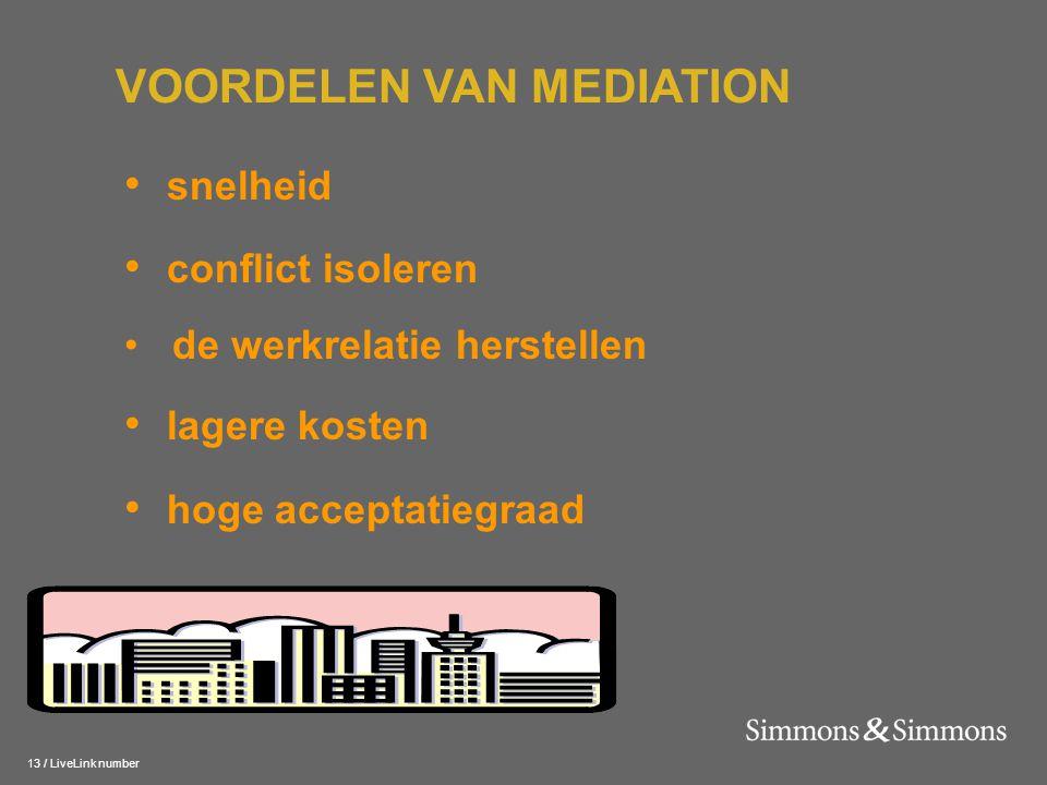 13 / LiveLink number • snelheid • conflict isoleren • de werkrelatie herstellen • lagere kosten • hoge acceptatiegraad VOORDELEN VAN MEDIATION