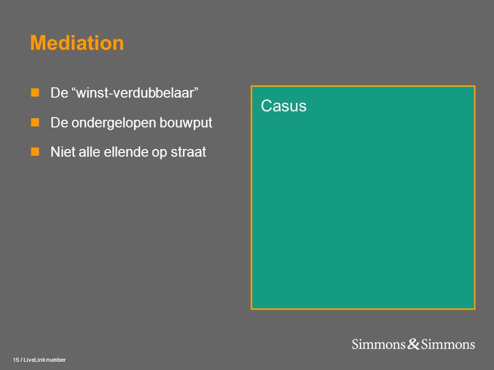 """15 / LiveLink number Mediation  De """"winst-verdubbelaar""""  De ondergelopen bouwput  Niet alle ellende op straat Casus"""