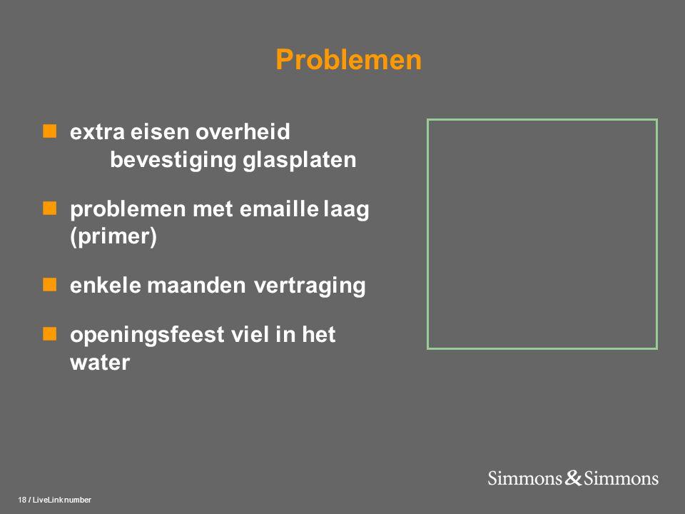 18 / LiveLink number Problemen  extra eisen overheid bevestiging glasplaten  problemen met emaille laag (primer)  enkele maanden vertraging  openi