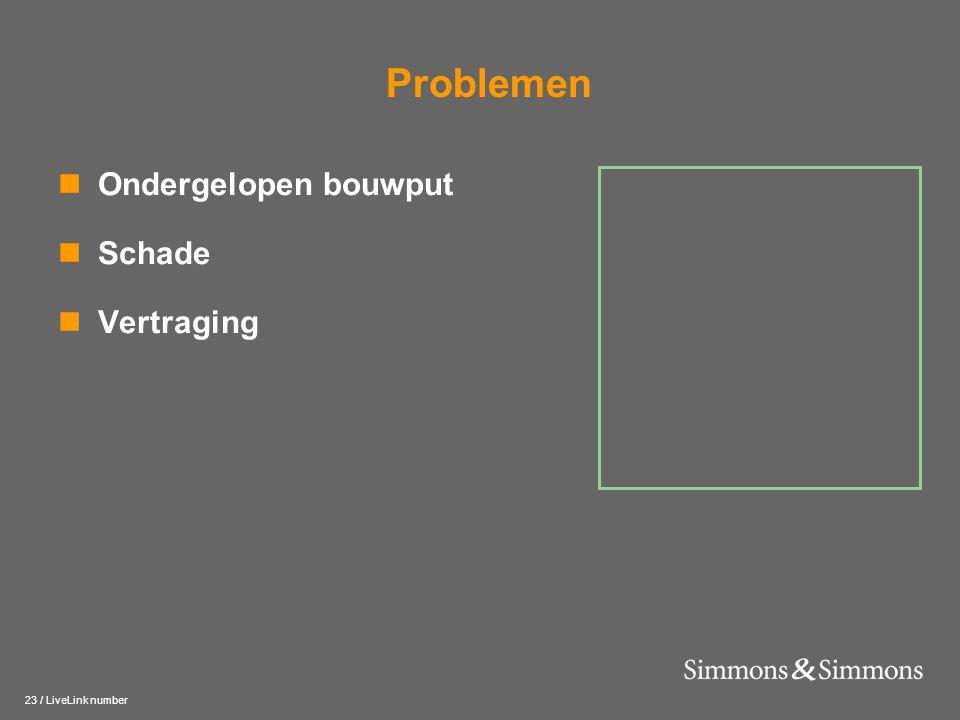 23 / LiveLink number Problemen  Ondergelopen bouwput  Schade  Vertraging