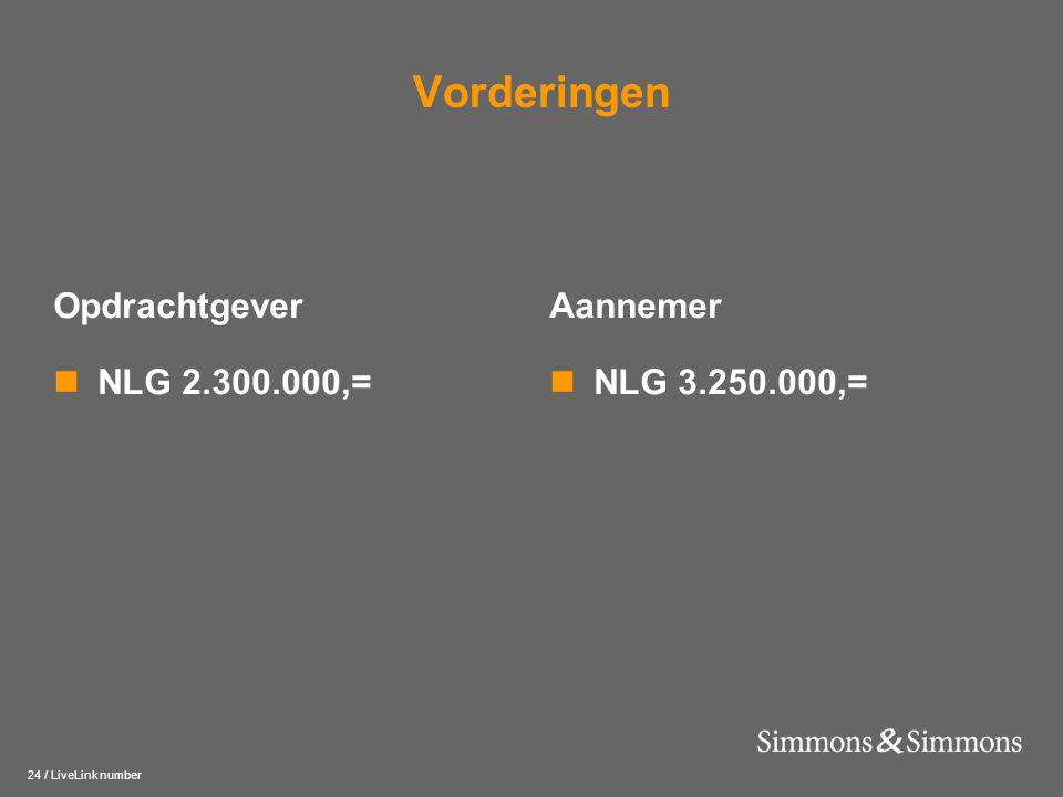 24 / LiveLink number Vorderingen Opdrachtgever  NLG 2.300.000,= Aannemer  NLG 3.250.000,=