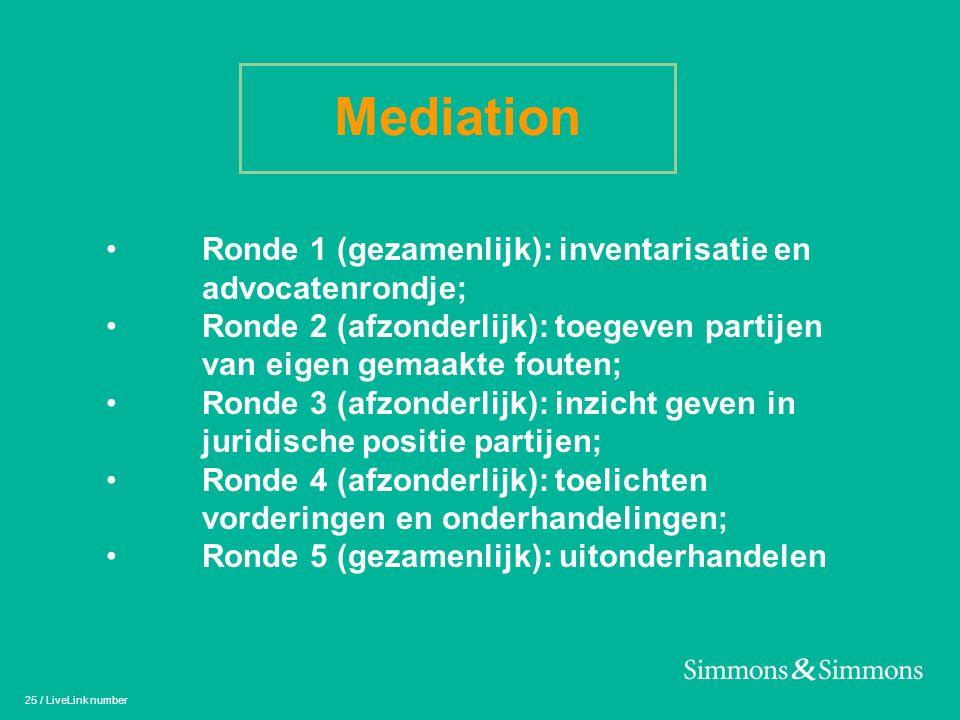 25 / LiveLink number Mediation • Ronde 1 (gezamenlijk): inventarisatie en advocatenrondje; • Ronde 2 (afzonderlijk): toegeven partijen van eigen gemaa