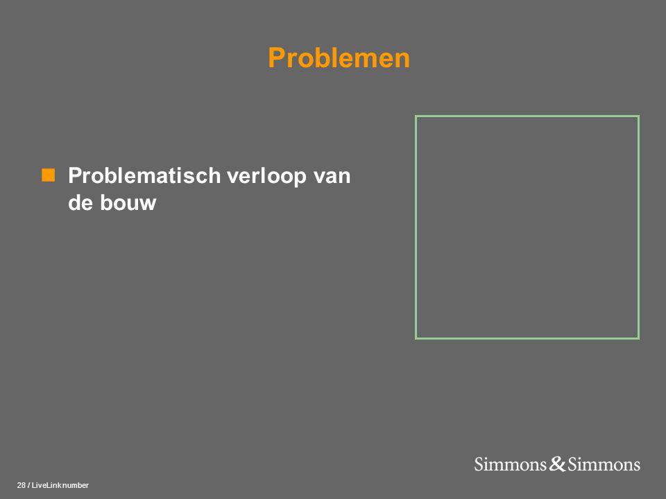 28 / LiveLink number Problemen  Problematisch verloop van de bouw