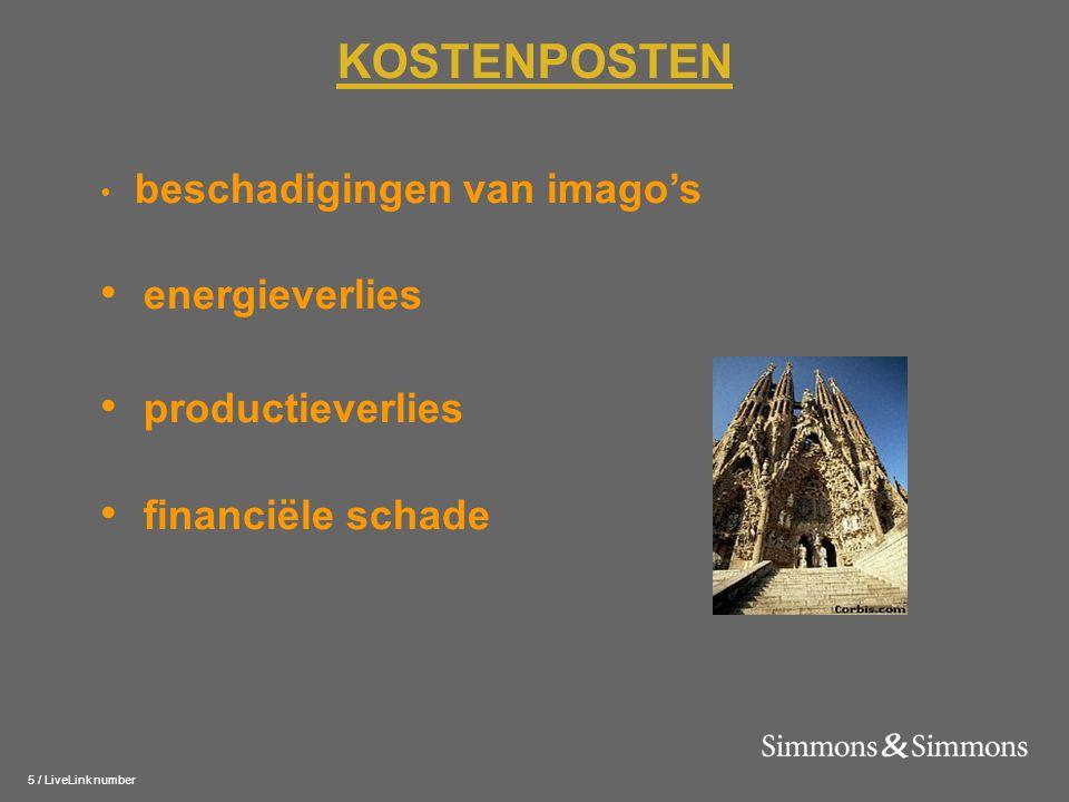 5 / LiveLink number KOSTENPOSTEN • beschadigingen van imago's • energieverlies • productieverlies • financiële schade