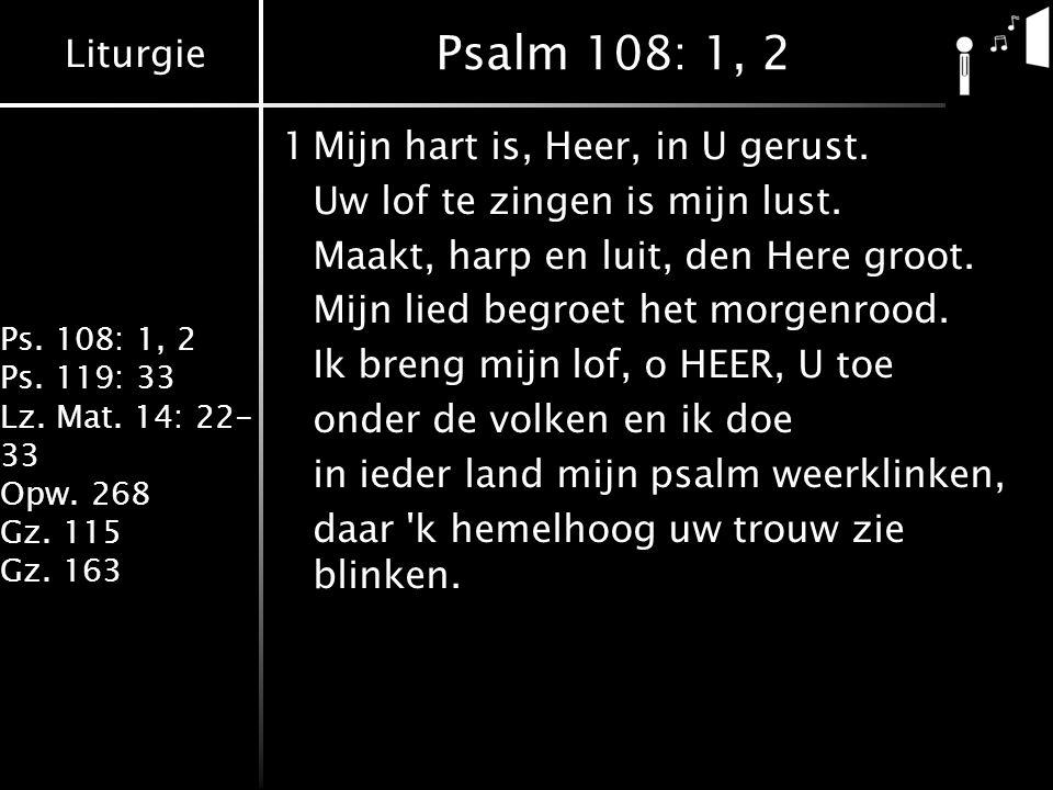 Liturgie Ps.108: 1, 2 Ps. 119: 33 Lz. Mat. 14: 22- 33 Opw.