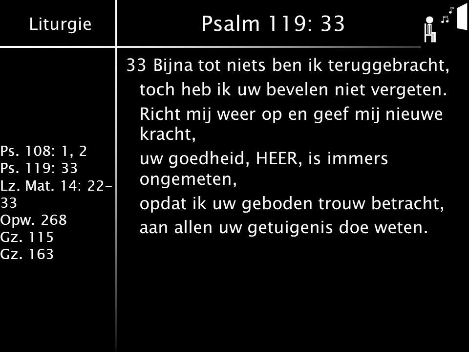 Liturgie Ps. 108: 1, 2 Ps. 119: 33 Lz. Mat. 14: 22- 33 Opw. 268 Gz. 115 Gz. 163