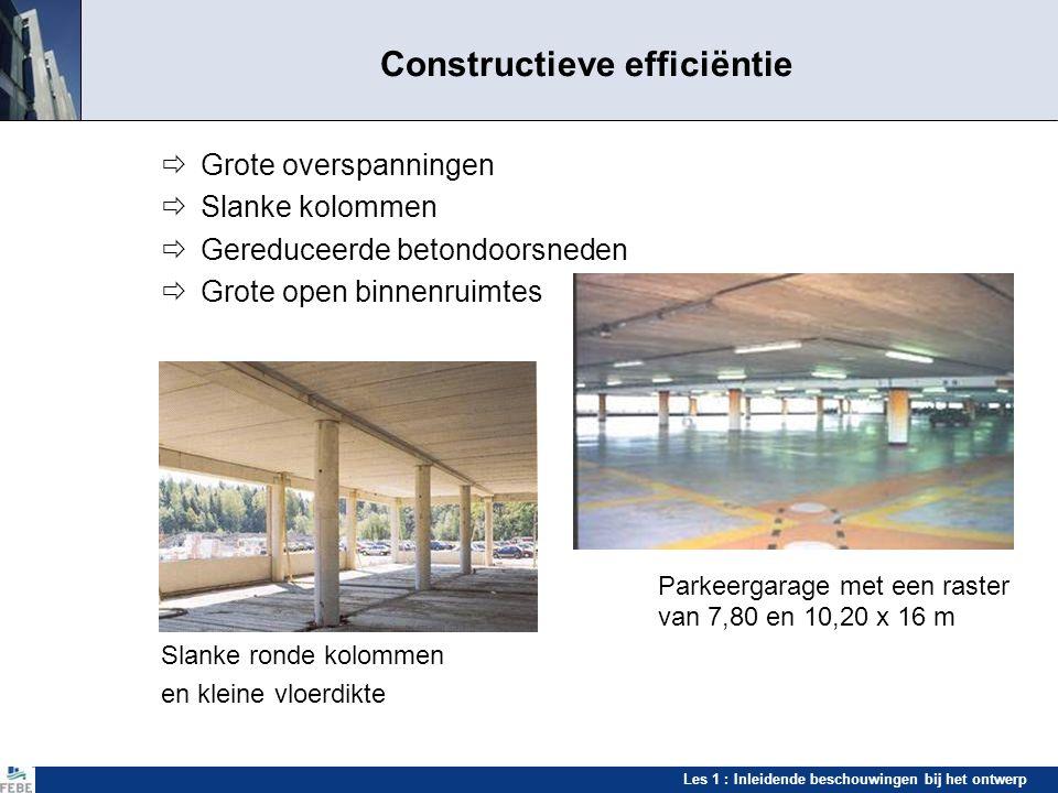 Les 1 : Inleidende beschouwingen bij het ontwerp Constructieve efficiëntie  Grote overspanningen  Slanke kolommen  Gereduceerde betondoorsneden  G