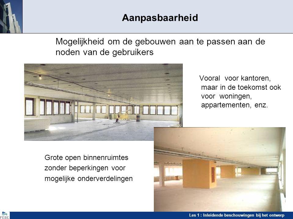 Les 1 : Inleidende beschouwingen bij het ontwerp Aanpasbaarheid Mogelijkheid om de gebouwen aan te passen aan de noden van de gebruikers Vooral voor k