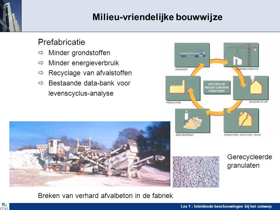 Les 1 : Inleidende beschouwingen bij het ontwerp Milieu-vriendelijke bouwwijze Prefabricatie  Minder grondstoffen  Minder energieverbruik  Recyclag