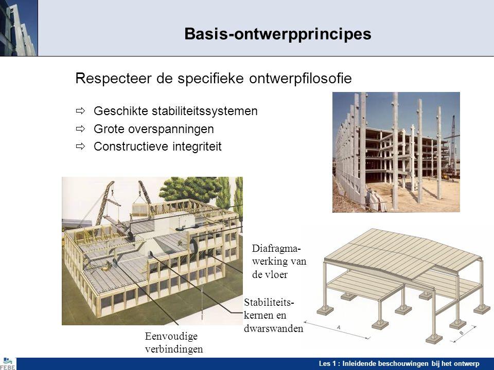 Les 1 : Inleidende beschouwingen bij het ontwerp Basis-ontwerpprincipes Respecteer de specifieke ontwerpfilosofie  Geschikte stabiliteitssystemen  G