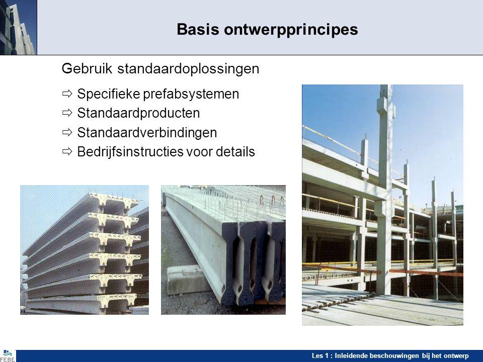 Les 1 : Inleidende beschouwingen bij het ontwerp Basis ontwerpprincipes Gebruik standaardoplossingen  Specifieke prefabsystemen  Standaardproducten