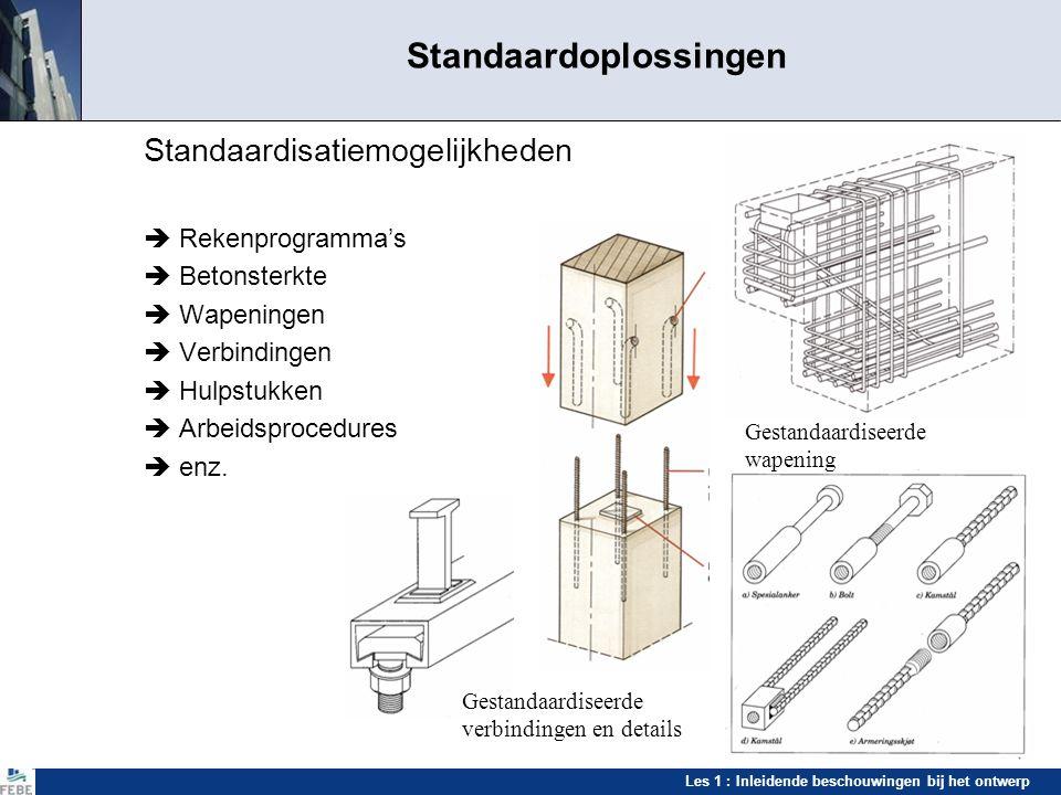 Les 1 : Inleidende beschouwingen bij het ontwerp Standaardoplossingen Standaardisatiemogelijkheden  Rekenprogramma's  Betonsterkte  Wapeningen  Ve