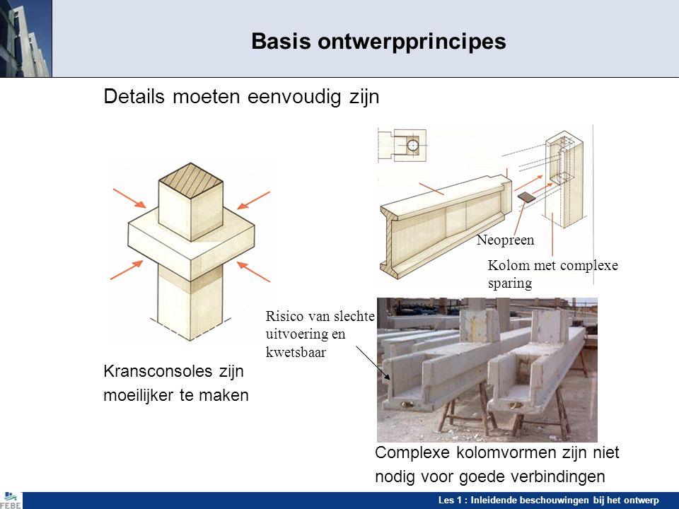 Les 1 : Inleidende beschouwingen bij het ontwerp Basis ontwerpprincipes Details moeten eenvoudig zijn Kransconsoles zijn moeilijker te maken Complexe
