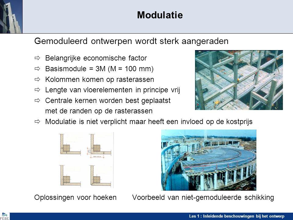 Les 1 : Inleidende beschouwingen bij het ontwerp Modulatie Gemoduleerd ontwerpen wordt sterk aangeraden  Belangrijke economische factor  Basismodule