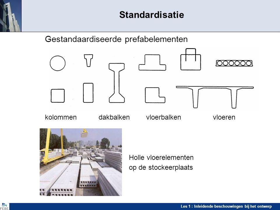 Les 1 : Inleidende beschouwingen bij het ontwerp Standardisatie Gestandaardiseerde prefabelementen kolommen dakbalken vloerbalkenvloeren Holle vloerel
