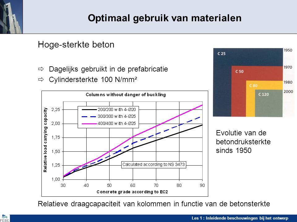 Les 1 : Inleidende beschouwingen bij het ontwerp Optimaal gebruik van materialen Hoge-sterkte beton  Dagelijks gebruikt in de prefabricatie  Cylinde