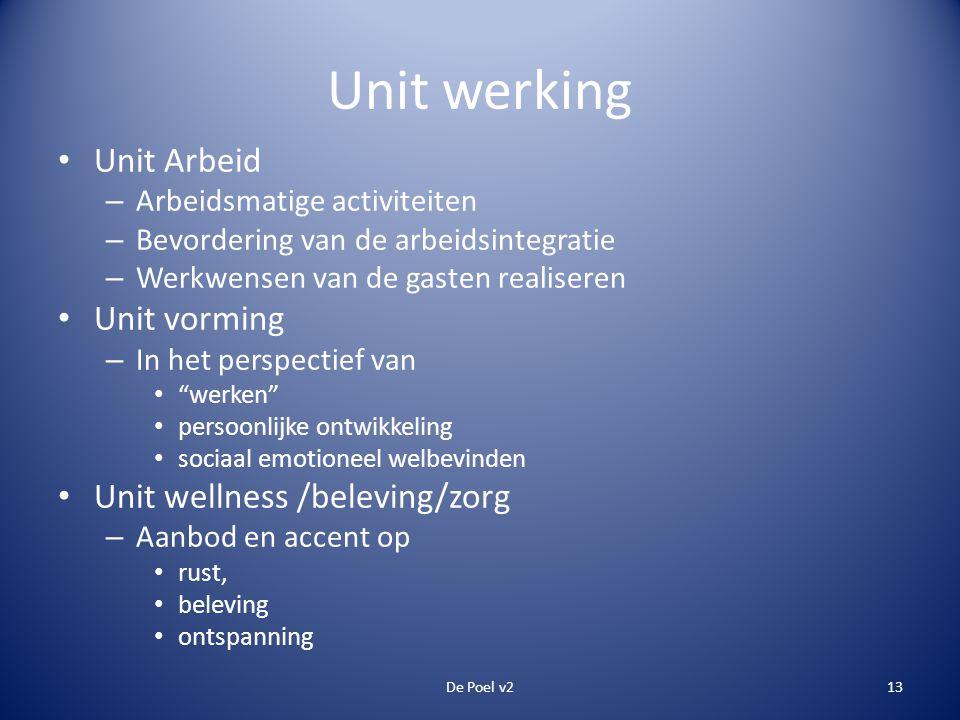 Unit werking • Unit Arbeid – Arbeidsmatige activiteiten – Bevordering van de arbeidsintegratie – Werkwensen van de gasten realiseren • Unit vorming –