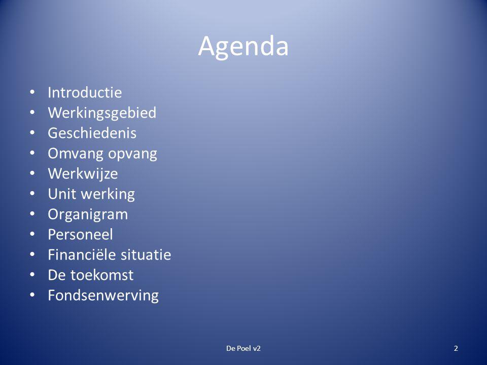 Agenda • Introductie • Werkingsgebied • Geschiedenis • Omvang opvang • Werkwijze • Unit werking • Organigram • Personeel • Financiële situatie • De toekomst • Fondsenwerving De Poel v22