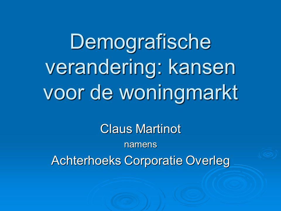 Demografische verandering: kansen voor de woningmarkt Claus Martinot namens Achterhoeks Corporatie Overleg