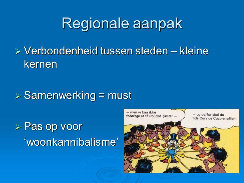Regionale aanpak  Verbondenheid tussen steden – kleine kernen  Samenwerking = must  Pas op voor 'woonkannibalisme'