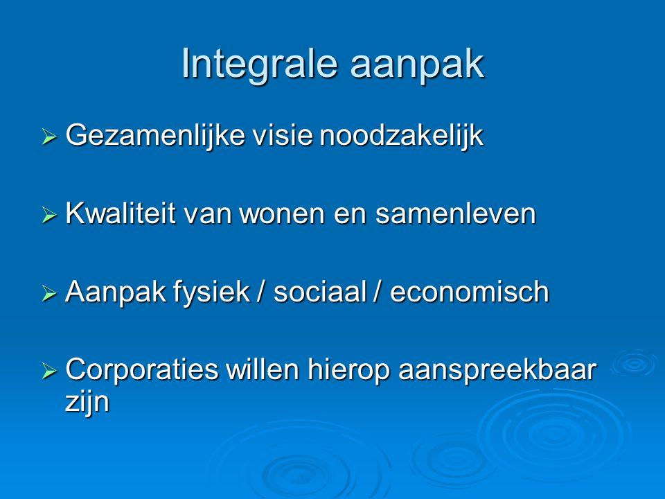 Integrale aanpak  Gezamenlijke visie noodzakelijk  Kwaliteit van wonen en samenleven  Aanpak fysiek / sociaal / economisch  Corporaties willen hie