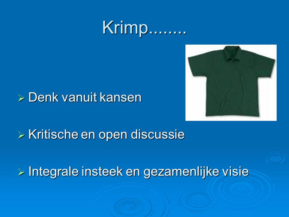 Krimp........  Denk vanuit kansen  Kritische en open discussie  Integrale insteek en gezamenlijke visie