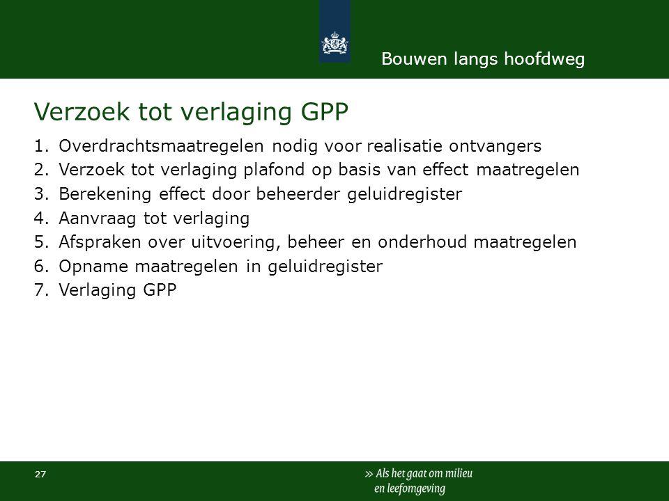 Verzoek tot verlaging GPP 1.Overdrachtsmaatregelen nodig voor realisatie ontvangers 2.Verzoek tot verlaging plafond op basis van effect maatregelen 3.