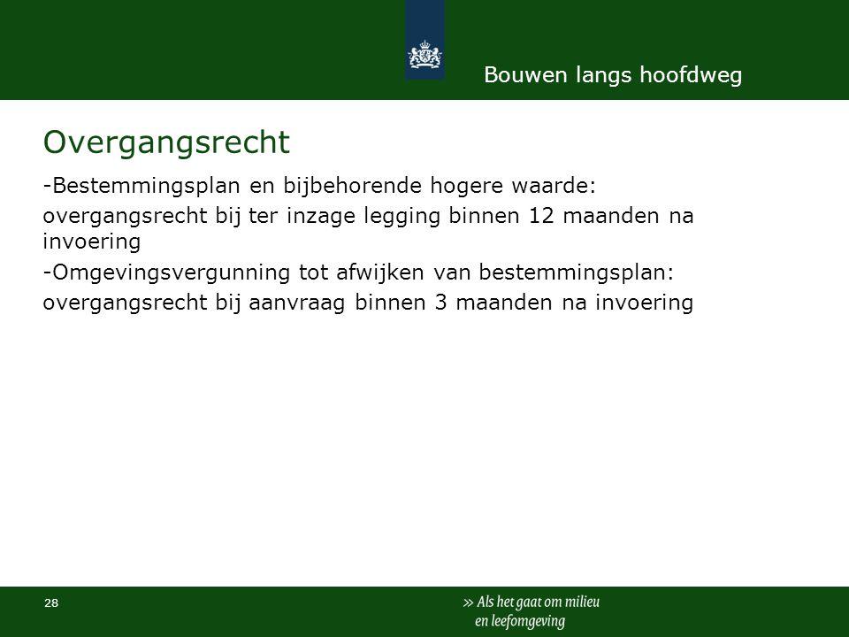 28 Overgangsrecht -Bestemmingsplan en bijbehorende hogere waarde: overgangsrecht bij ter inzage legging binnen 12 maanden na invoering -Omgevingsvergu