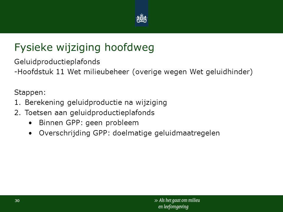 30 Fysieke wijziging hoofdweg Geluidproductieplafonds -Hoofdstuk 11 Wet milieubeheer (overige wegen Wet geluidhinder) Stappen: 1.Berekening geluidprod