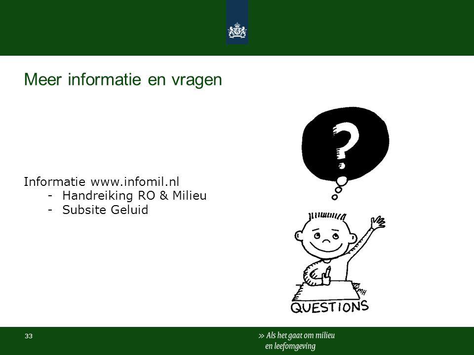 Meer informatie en vragen Informatie www.infomil.nl -Handreiking RO & Milieu -Subsite Geluid 33