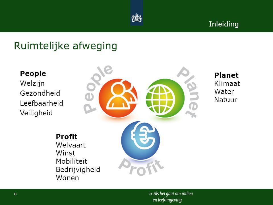 8 Ruimtelijke afweging People Welzijn Gezondheid Leefbaarheid Veiligheid Planet Klimaat Water Natuur Profit Welvaart Winst Mobiliteit Bedrijvigheid Wo