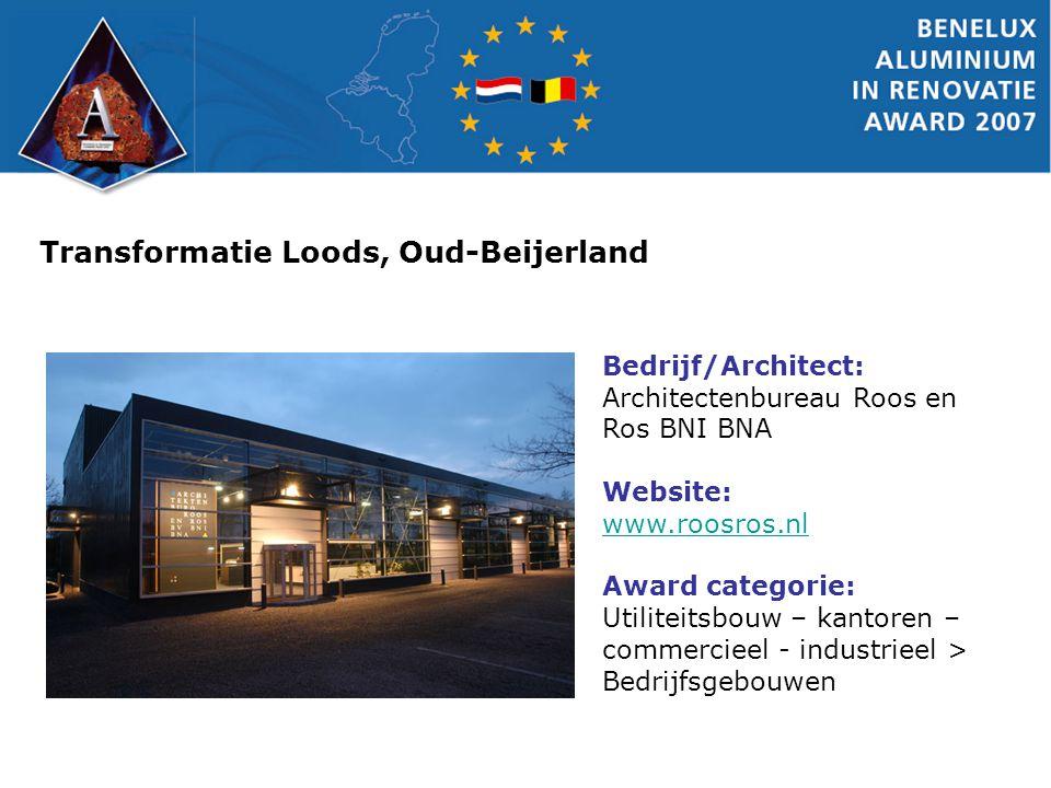 Transformatie Loods, Oud-Beijerland Bedrijf/Architect: Architectenbureau Roos en Ros BNI BNA Website: www.roosros.nl www.roosros.nl Award categorie: U