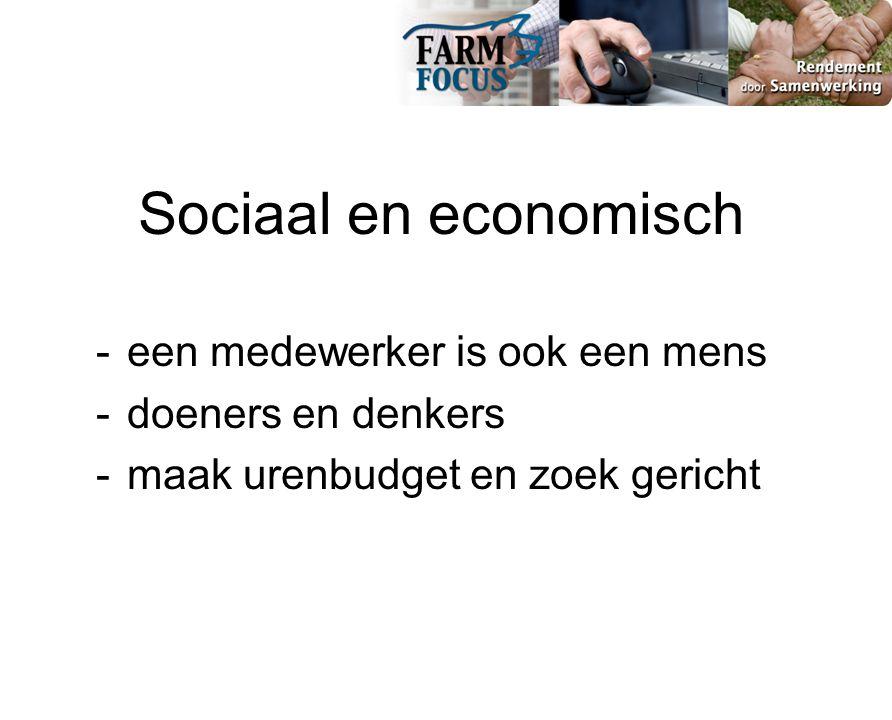 Sociaal en economisch - een medewerker is ook een mens - doeners en denkers - maak urenbudget en zoek gericht