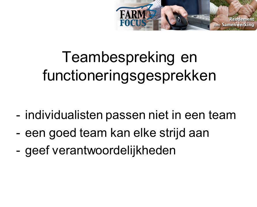 Teambespreking en functioneringsgesprekken - individualisten passen niet in een team - een goed team kan elke strijd aan - geef verantwoordelijkheden