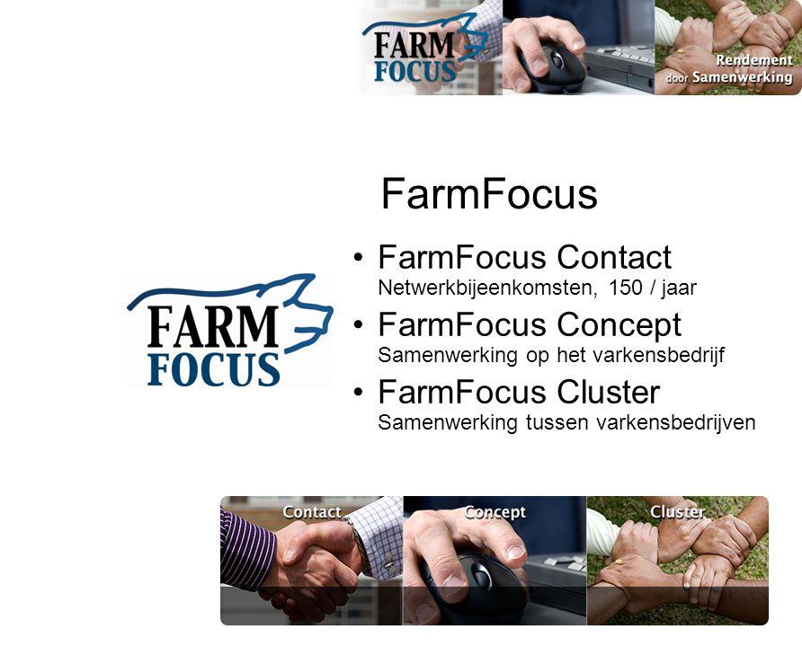 FarmFocus •FarmFocus Contact Netwerkbijeenkomsten, 150 / jaar •FarmFocus Concept Samenwerking op het varkensbedrijf •FarmFocus Cluster Samenwerking tussen varkensbedrijven