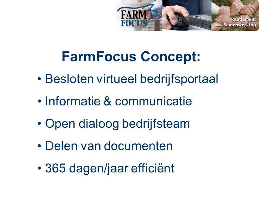 • Besloten virtueel bedrijfsportaal • Informatie & communicatie • Open dialoog bedrijfsteam • Delen van documenten • 365 dagen/jaar efficiënt FarmFocus Concept: