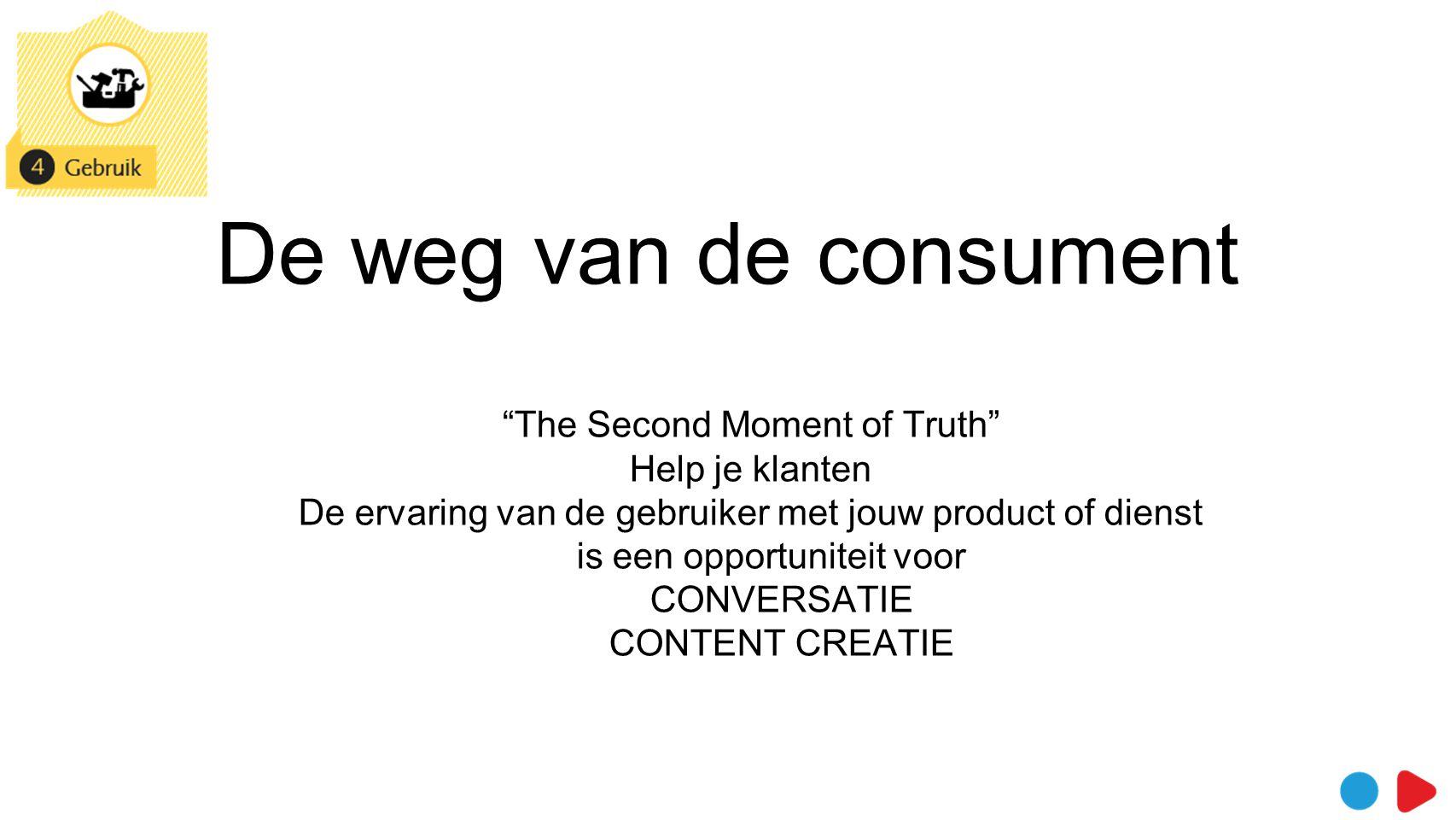 De weg van de consument The Second Moment of Truth Help je klanten De ervaring van de gebruiker met jouw product of dienst is een opportuniteit voor CONVERSATIE CONTENT CREATIE