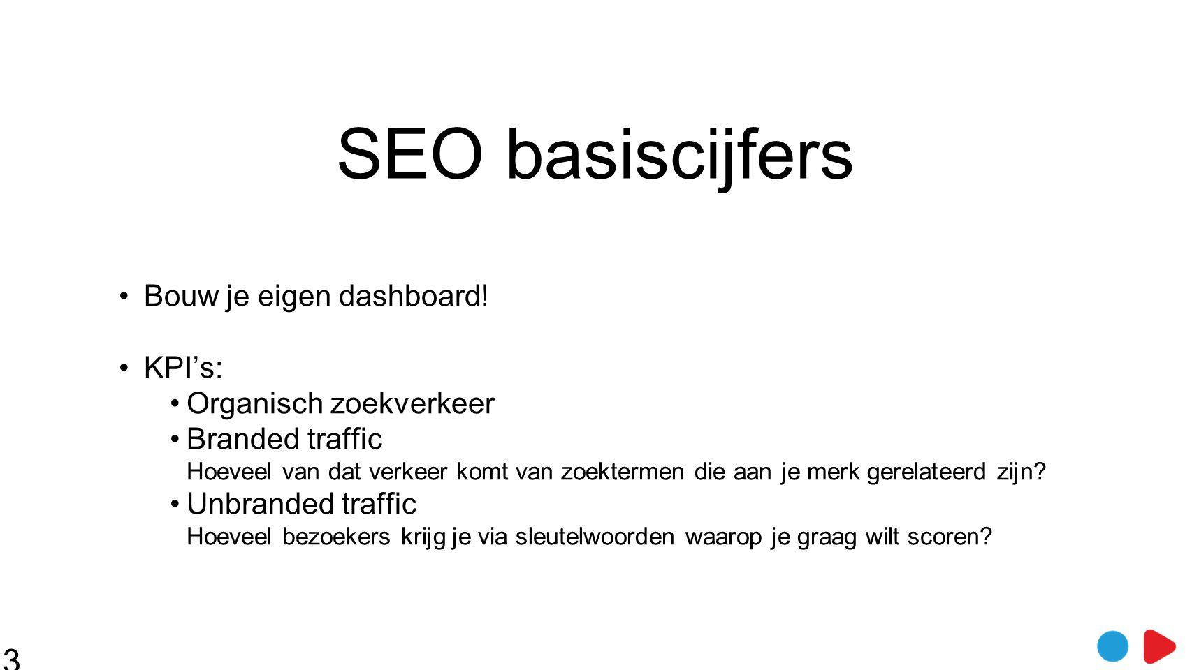 SEO basiscijfers •Bouw je eigen dashboard! •KPI's: •Organisch zoekverkeer •Branded traffic Hoeveel van dat verkeer komt van zoektermen die aan je merk
