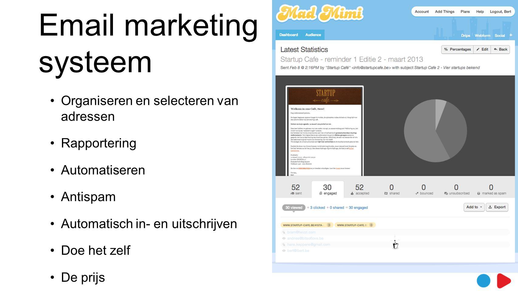 Email marketing systeem •Organiseren en selecteren van adressen •Rapportering •Automatiseren •Antispam •Automatisch in- en uitschrijven •Doe het zelf •De prijs