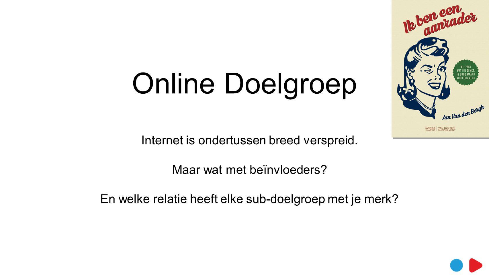 Online Doelgroep Internet is ondertussen breed verspreid.