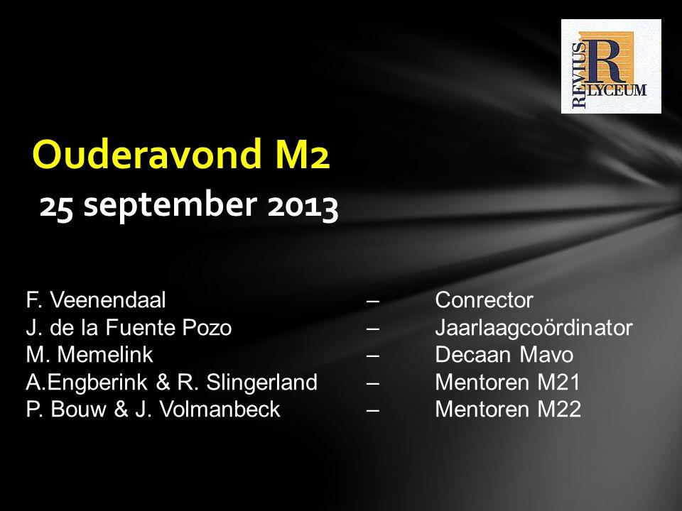 Ouderavond M2 25 september 2013 F. Veenendaal – Conrector J. de la Fuente Pozo – Jaarlaagcoördinator M. Memelink–Decaan Mavo A.Engberink & R. Slingerl