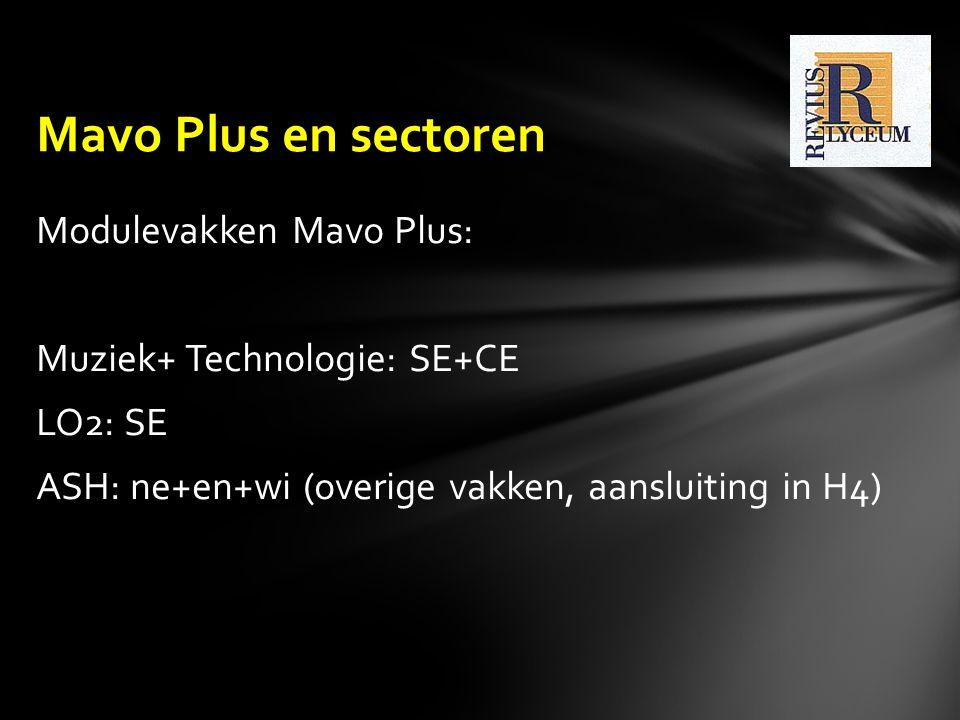 Modulevakken Mavo Plus: Muziek+ Technologie: SE+CE LO2: SE ASH: ne+en+wi (overige vakken, aansluiting in H4) Mavo Plus en sectoren
