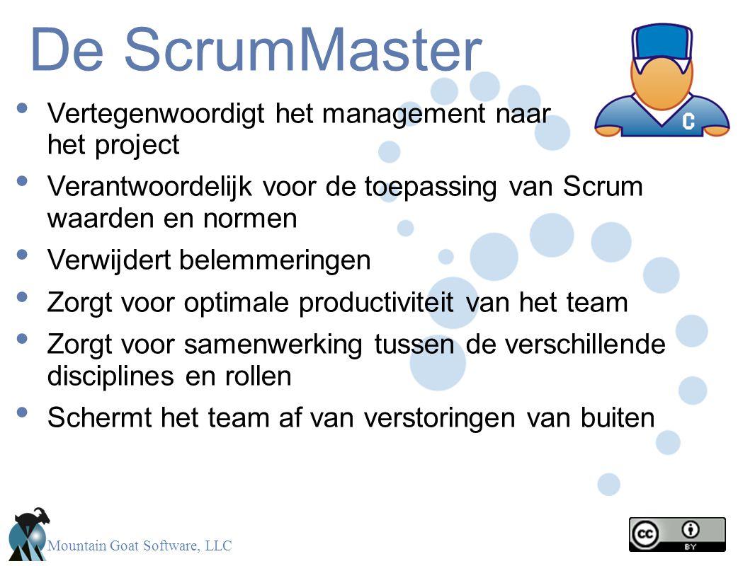 Mountain Goat Software, LLC De ScrumMaster • Vertegenwoordigt het management naar het project • Verantwoordelijk voor de toepassing van Scrum waarden