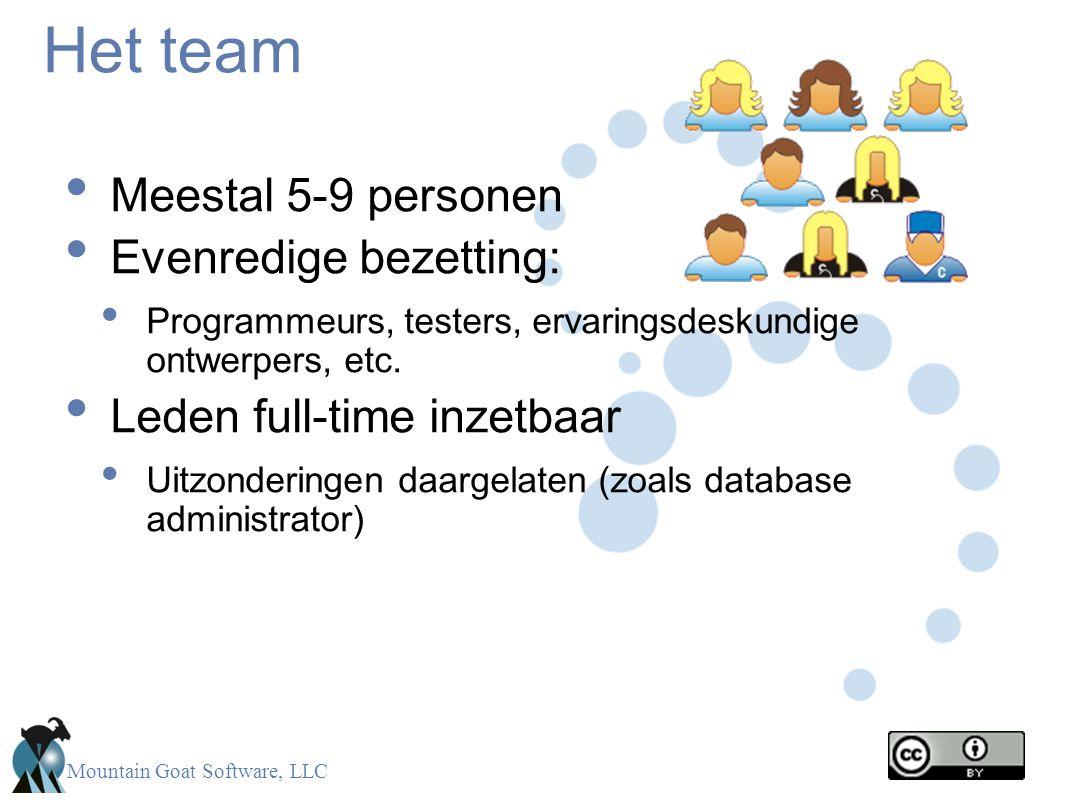 Mountain Goat Software, LLC Het team • Meestal 5-9 personen • Evenredige bezetting: • Programmeurs, testers, ervaringsdeskundige ontwerpers, etc. • Le
