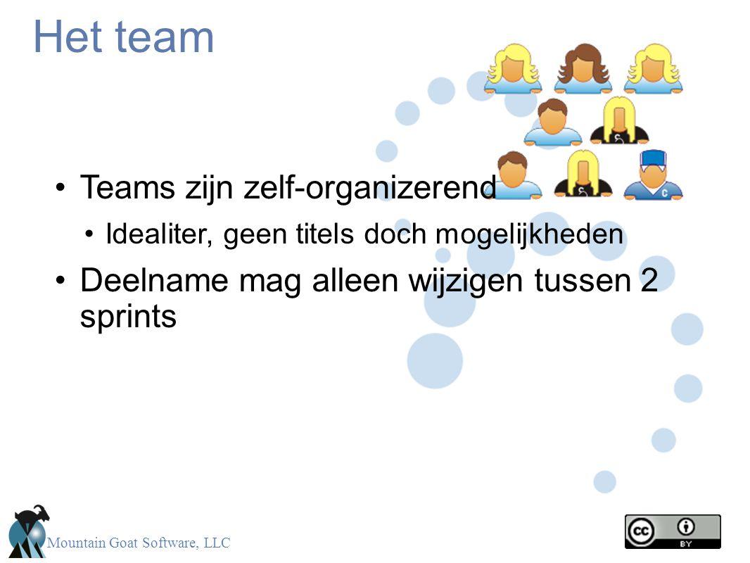 Mountain Goat Software, LLC Het team •Teams zijn zelf-organizerend •Idealiter, geen titels doch mogelijkheden •Deelname mag alleen wijzigen tussen 2 s